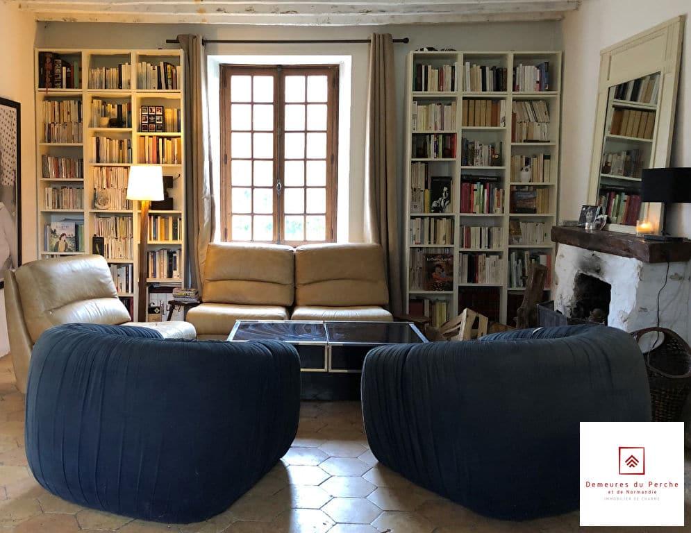 bibliotheque-salon-moulin-a-vendre-perche